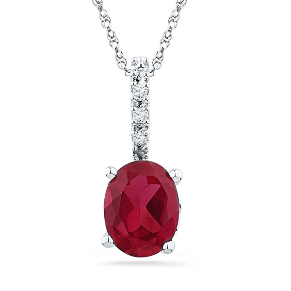 10kt White Gold Womens Oval Lab-Created Ruby Solitaire Diamond Pendant 1.00 Cttw