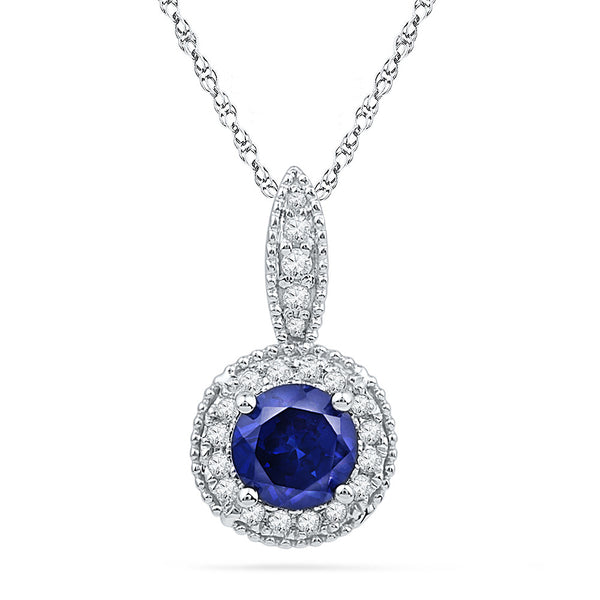 10kt White Gold Womens Round Lab-Created Blue Sapphire Solitaire Diamond Frame Pendant 1/6 Cttw