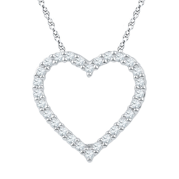 10kt White Gold Womens Round Diamond Heart Love Pendant 1/4 Cttw