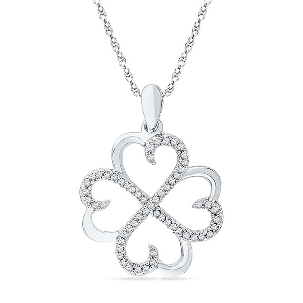 10kt White Gold Womens Round Diamond Heart Love Pendant 1/5 Cttw