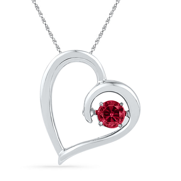 10kt White Gold Womens Round Lab-Created Ruby Heart Love Pendant 1/5 Cttw