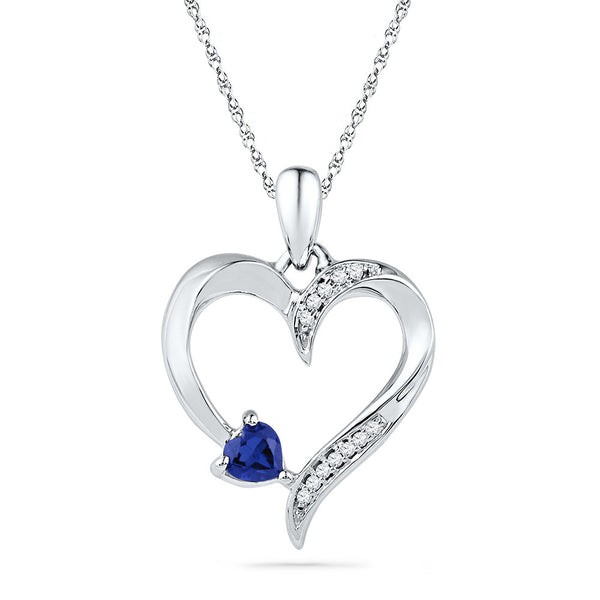 10kt White Gold Womens Round Lab-Created Blue Sapphire Heart Love Pendant 1/20 Cttw