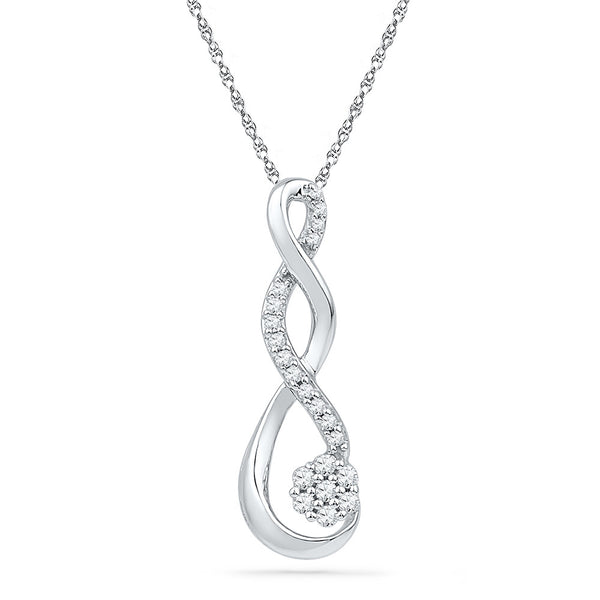 10kt White Gold Womens Round Diamond Infinity Cluster Pendant 1/6 Cttw