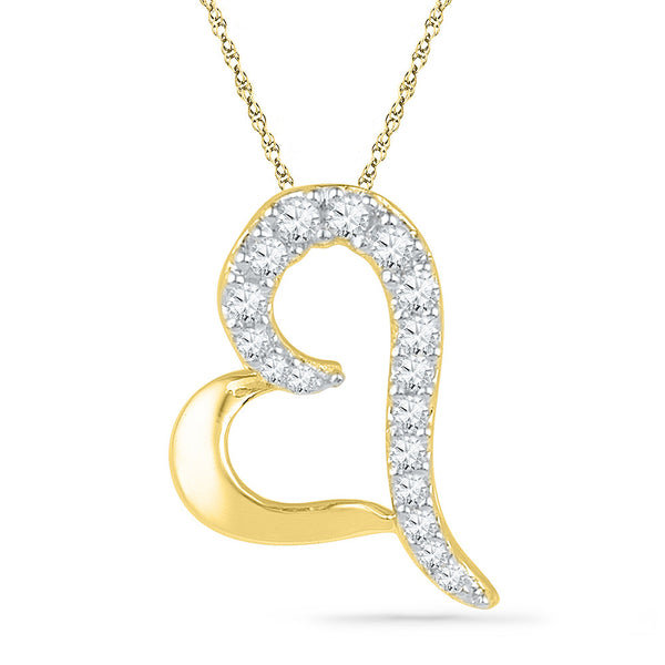 10kt Yellow Gold Womens Round Diamond Heart Love Pendant 1/12 Cttw