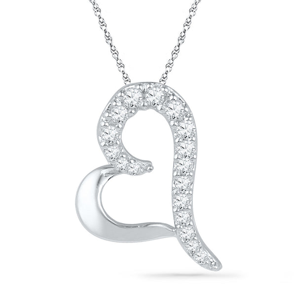 10kt White Gold Womens Round Diamond Heart Love Pendant 1/12 Cttw