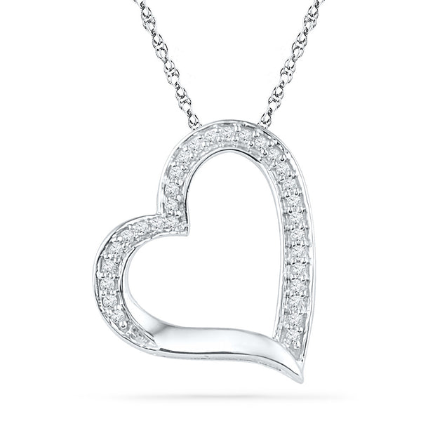 10kt White Gold Womens Round Diamond Heart Outline Pendant 1/8 Cttw