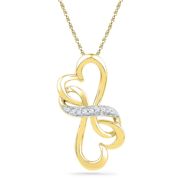 10kt Yellow Gold Womens Round Diamond Double Heart Love Pendant 1/20 Cttw
