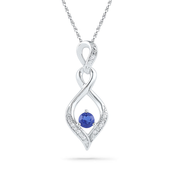 10kt White Gold Womens Round Lab-Created Blue Sapphire Solitaire Pendant .02 Cttw