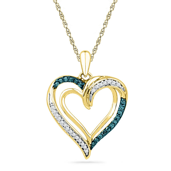 10kt Yellow Gold Womens Round Blue Colored Diamond Heart Love Pendant 1/6 Cttw