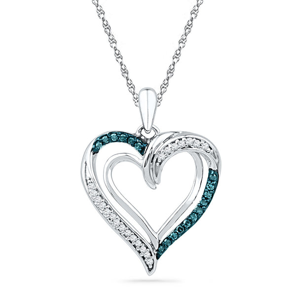 10kt White Gold Womens Round Blue Colored Diamond Heart Love Pendant 1/6 Cttw