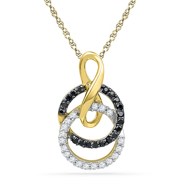 10kt Yellow Gold Womens Round Black Colored Diamond Double Circle Pendant 1/5 Cttw