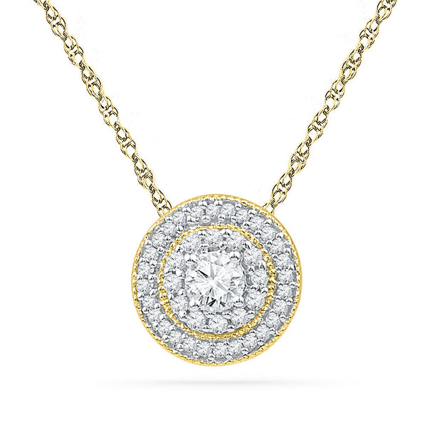 10kt Yellow Gold Womens Round Diamond Solitaire Pendant 1/2 Cttw