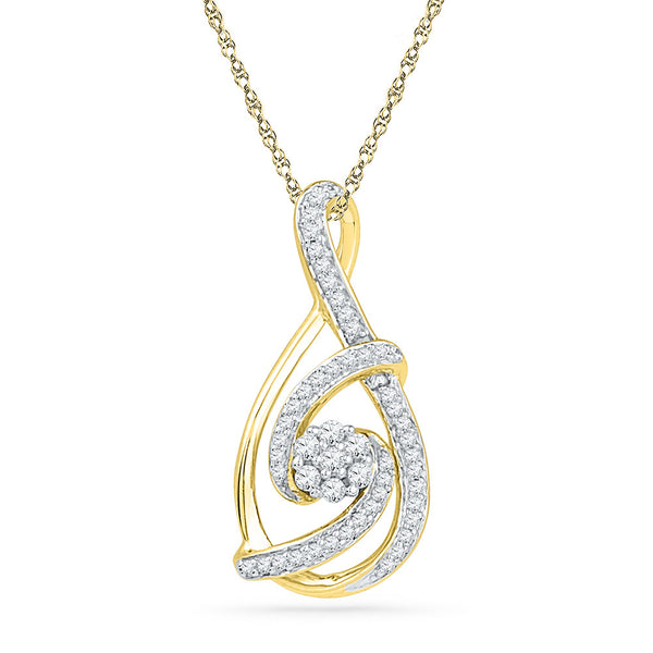 10kt Yellow Gold Womens Round Diamond Cradled Cluster Teardrop Pendant 1/4 Cttw