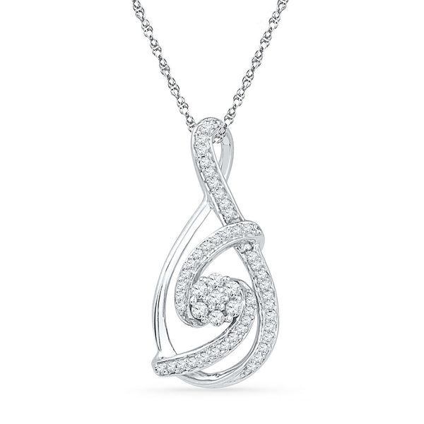 10kt White Gold Womens Round Diamond Cradled Cluster Teardrop Pendant 1/4 Cttw