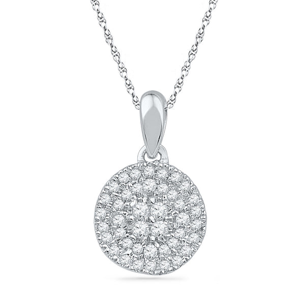 10kt White Gold Womens Round Diamond Circle Cluster Pendant 1/4 Cttw