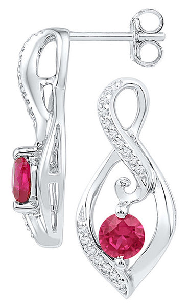 10kt White Gold Womens Round Lab-Created Ruby Solitaire Oval Diamond Earrings 1.00 Cttw