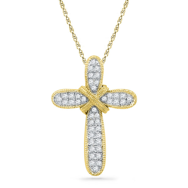10kt Yellow Gold Womens Round Diamond Bound Cross Pendant 1/8 Cttw