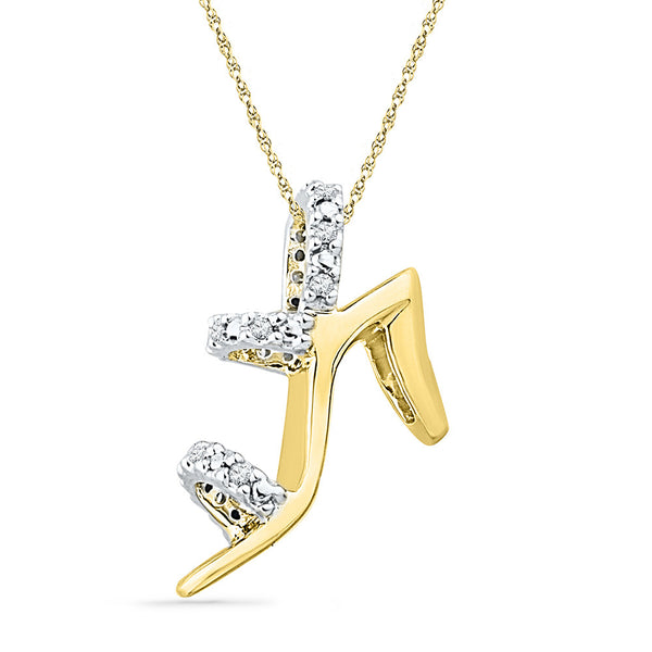 10kt Yellow Gold Womens Round Diamond Stiletto Shoe Pendant 1/20 Cttw
