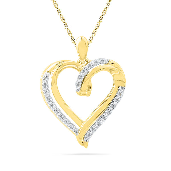 10kt Yellow Gold Womens Round Diamond Heart Love Pendant 1/10 Cttw