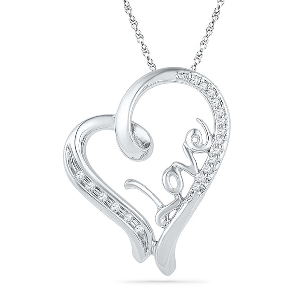 10kt White Gold Womens Round Diamond Heart Love Pendant 1/10 Cttw