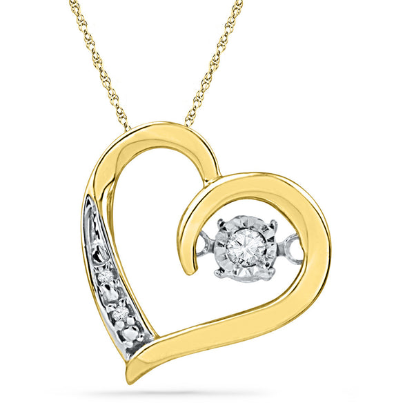 10kt Yellow Gold Womens Round Diamond Heart Love Twinkle Moving Pendant 1/20 Cttw
