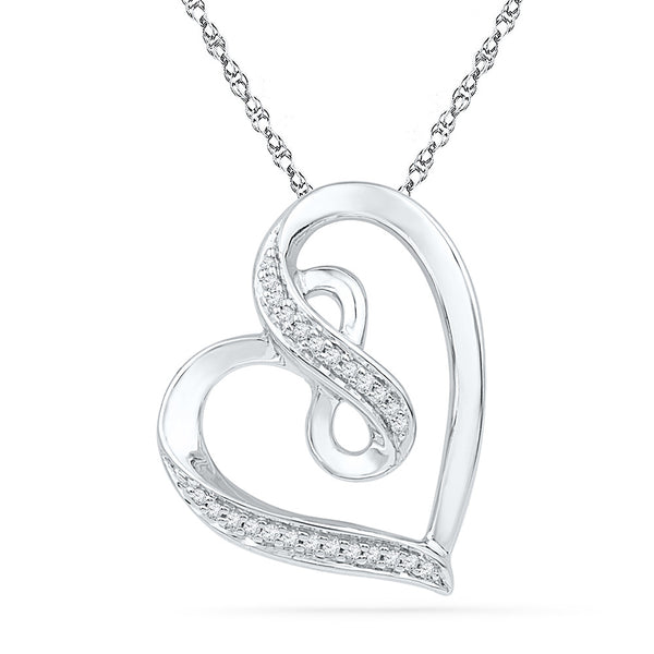 10kt White Gold Womens Round Diamond Heart Infinity Pendant 1/10 Cttw