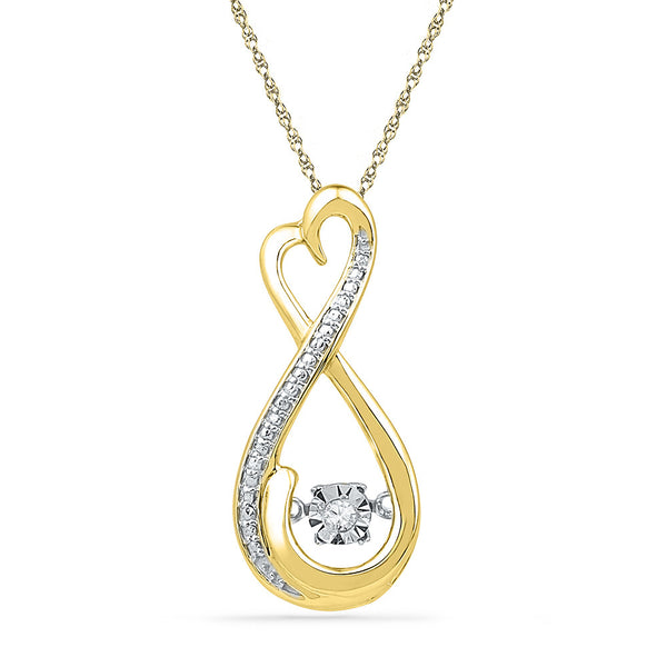 10kt Yellow Gold Womens Round Diamond Infinity Moving Twinkle Pendant .03 Cttw
