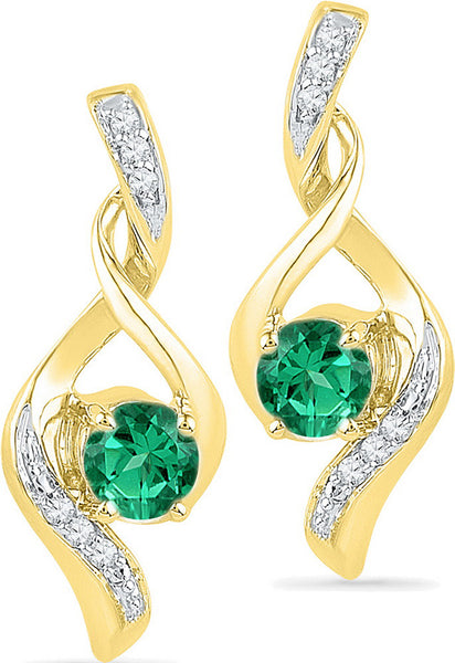 10kt Yellow Gold Womens Round Lab-Created Emerald Solitaire Diamond Earrings 1/3 Cttw