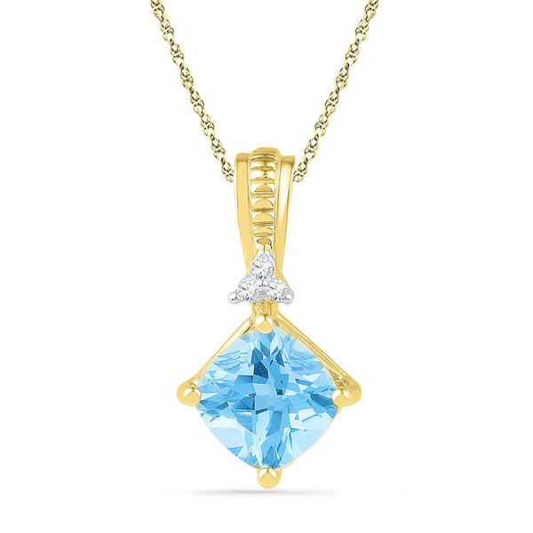 10kt Yellow Gold Womens Princess Lab-Created Blue Topaz Solitaire Pendant 2-3/8 Cttw