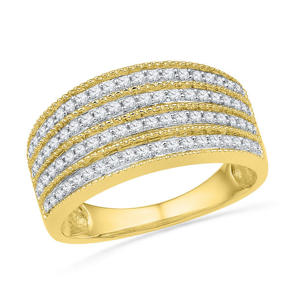 10kt Yellow Gold Womens Round Diamond Four Row Milgrain Band Ring 1/2 Cttw
