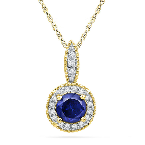 10kt Yellow Gold Womens Round Lab-Created Blue Sapphire Solitaire Diamond Frame Pendant 1/6 Cttw