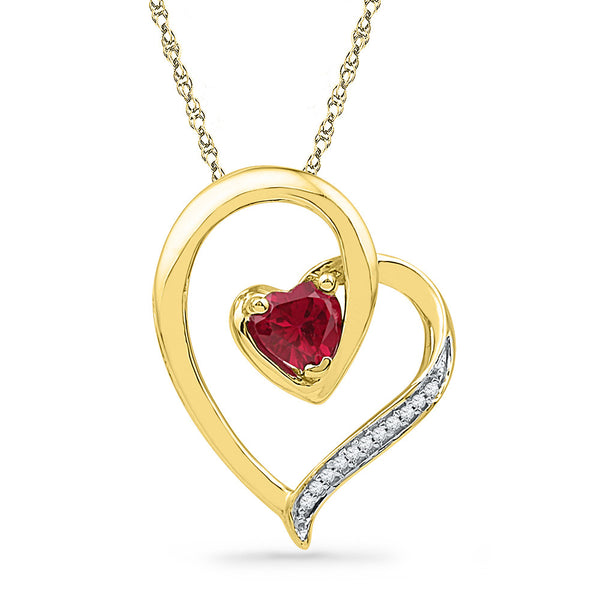 10kt Yellow Gold Womens Round Lab-Created Ruby Heart Love Pendant .03 Cttw