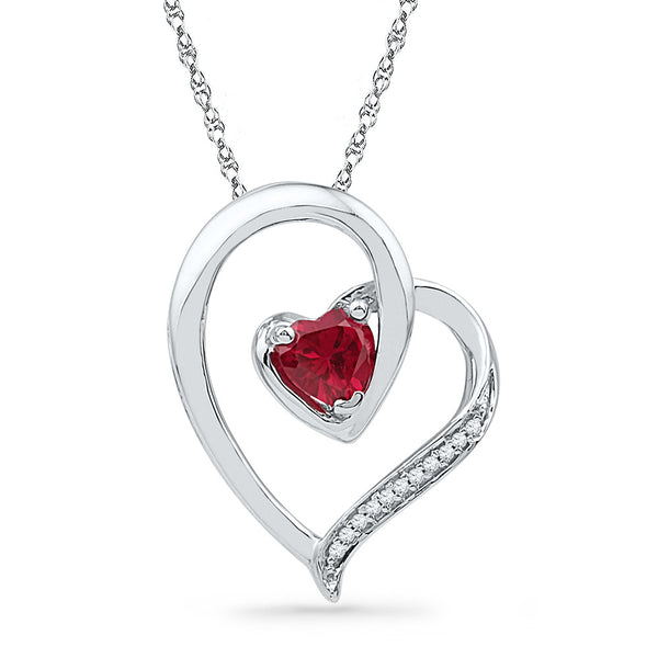Sterling Silver Womens Heart Lab-Created Ruby Solitaire Diamond Heart Pendant 1/2 Cttw