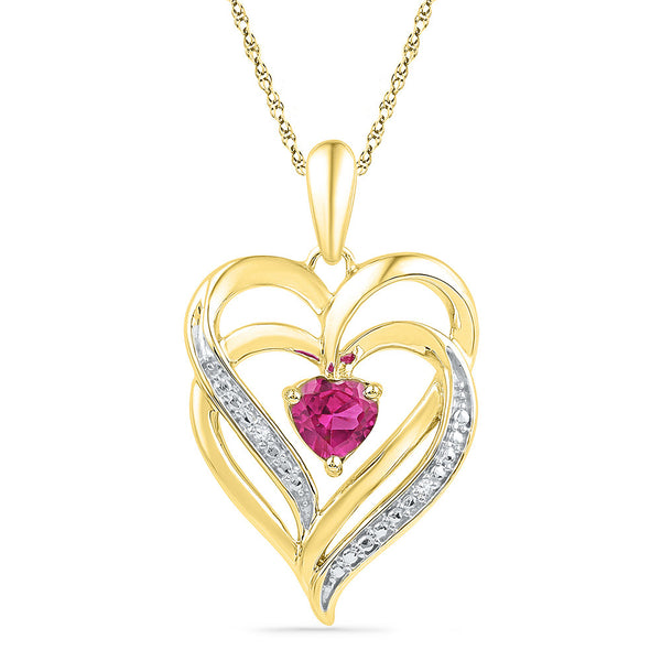 Yellow-tone Sterling Silver Womens Round Lab-Created Pink Sapphire Double Heart Pendant 3/4 Cttw
