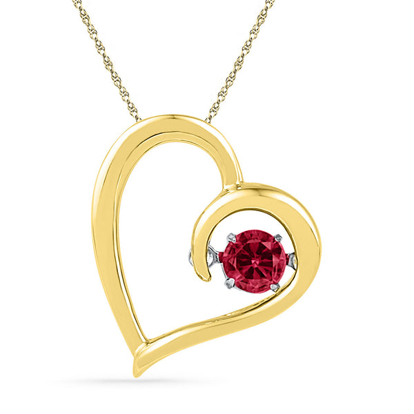 10kt Yellow Gold Womens Round Lab-Created Ruby Heart Love Pendant 1/5 Cttw