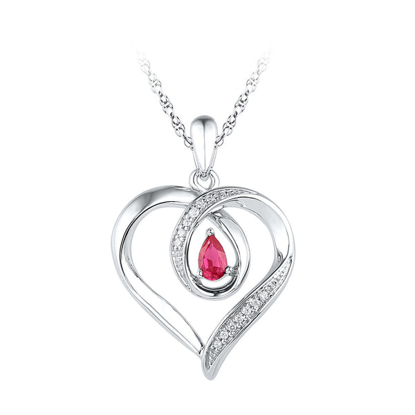 Sterling Silver Womens Pear Lab-Created Ruby Heart Love Pendant 1/4 Cttw