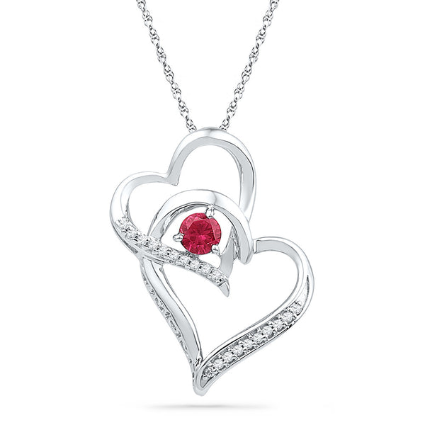 Sterling Silver Womens Round Lab-Created Ruby Diamond Double Heart Pendant 1/3 Cttw