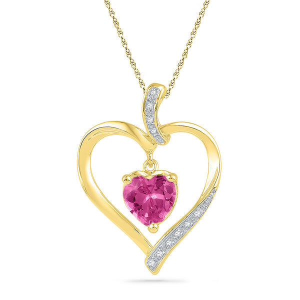 10kt Yellow Gold Womens Round Lab-Created Ruby Heart Love Pendant 1-3/4 Cttw