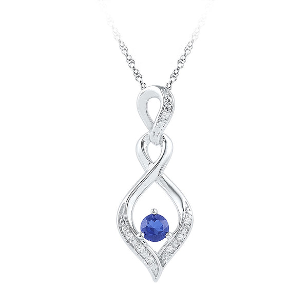 Sterling Silver Womens Round Lab-Created Blue Sapphire Solitaire Diamond Pendant 1/5 Cttw
