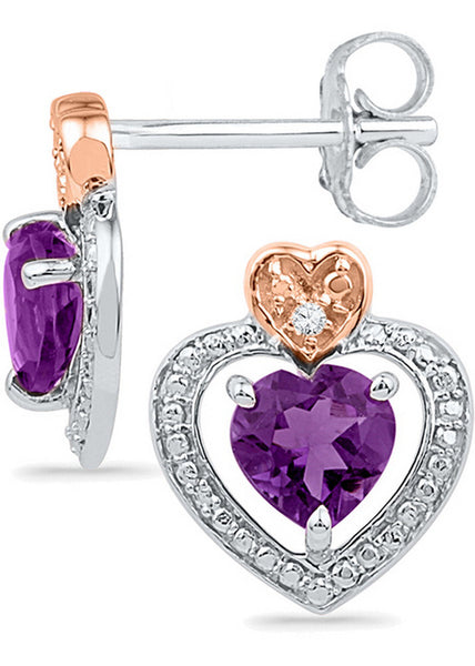 Sterling Silver Womens Round Lab-Created Amethyst Diamond Heart Frame Earrings .01 Cttw