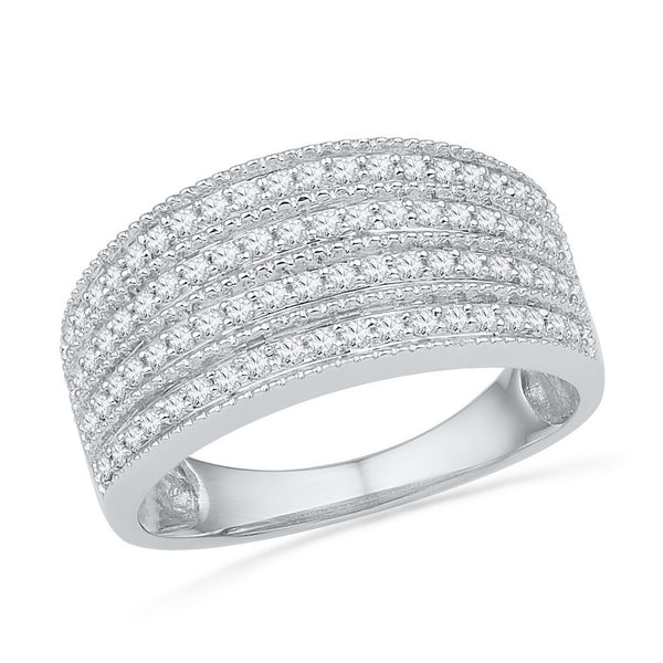 10kt White Gold Womens Round Diamond Four Row Milgrain Band Ring 1/2 Cttw