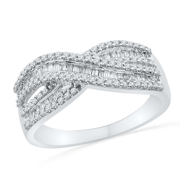 10kt White Gold Womens Round Baguette Diamond Crossover Band Ring 1/2 Cttw