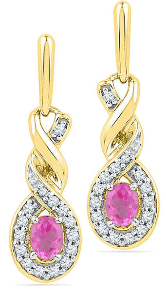 10kt Yellow Gold Womens Oval Lab-Created Pink Sapphire Twist Dangle Earrings 5/8 Cttw