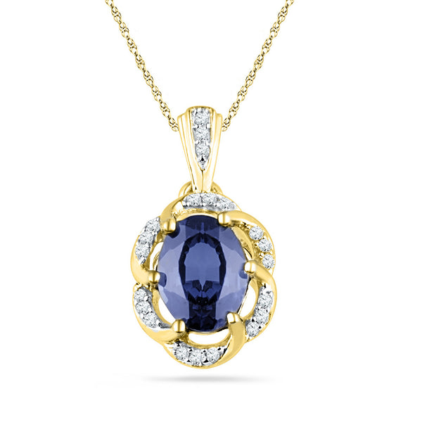 10kt Yellow Gold Womens Lab-Created Blue Sapphire Solitaire Diamond Pendant 1-3/4 Cttw