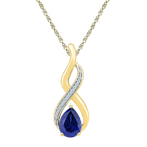10kt Yellow Gold Womens Pear Lab-Created Blue Sapphire Solitaire Diamond Pendant 1-4/5 Cttw