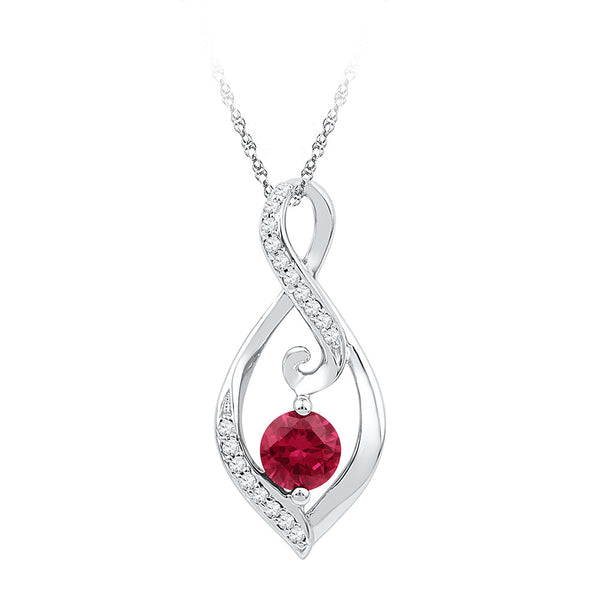 Sterling Silver Womens Round Lab-Created Ruby Diamond Infinity Pendant 3/4 Cttw