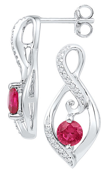 Sterling Silver Womens Round Lab-Created Ruby Diamond Infinity Screwback Earrings 1/10 Cttw