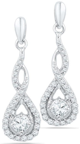 10kt White Gold Womens Round Diamond Solitaire Teardrop Frame Dangle Earrings 1/2 Cttw