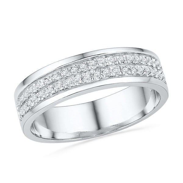 10kt White Gold Womens Round Diamond 2-row Band Ring 1/5 Cttw