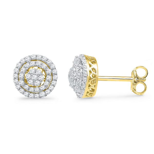 10kt Yellow Gold Womens Round Diamond Concentric Cluster Screwback Earrings 1/2 Cttw